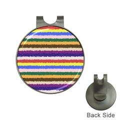 Horizontal Vivid Colors Curly Stripes - 1 Hat Clip with Golf Ball Marker