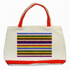 Horizontal Vivid Colors Curly Stripes   1 Classic Tote Bag (red)