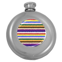 Horizontal Vivid Colors Curly Stripes   1 Hip Flask (round)