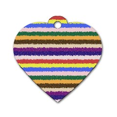 Horizontal Vivid Colors Curly Stripes - 1 Dog Tag Heart (One Sided)
