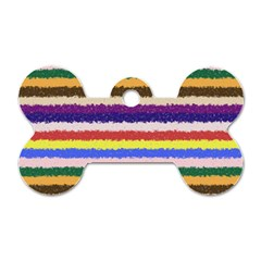 Horizontal Vivid Colors Curly Stripes   1 Dog Tag Bone (one Sided)