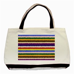 Horizontal Vivid Colors Curly Stripes - 1 Twin-sided Black Tote Bag