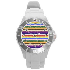 Horizontal Vivid Colors Curly Stripes   1 Plastic Sport Watch (large)