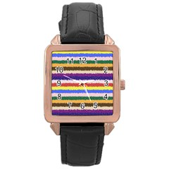 Horizontal Vivid Colors Curly Stripes   1 Rose Gold Leather Watch