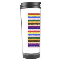 Horizontal Vivid Colors Curly Stripes   1 Travel Tumbler