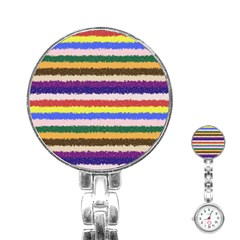 Horizontal Vivid Colors Curly Stripes - 1 Stainless Steel Nurses Watch