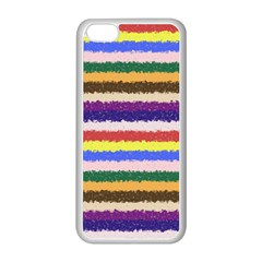 Horizontal Vivid Colors Curly Stripes - 1 Apple iPhone 5C Seamless Case (White)
