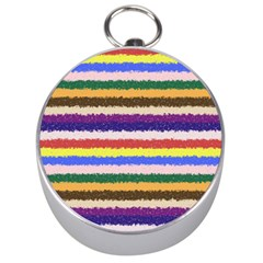 Horizontal Vivid Colors Curly Stripes - 1 Silver Compass