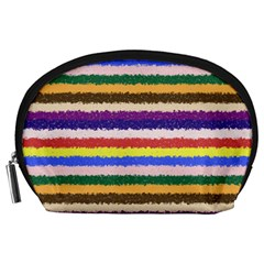 Horizontal Vivid Colors Curly Stripes   1 Accessory Pouch (large)