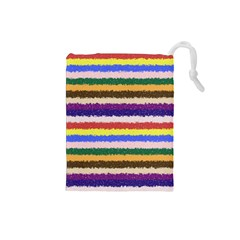 Horizontal Vivid Colors Curly Stripes   1 Drawstring Pouch (small)