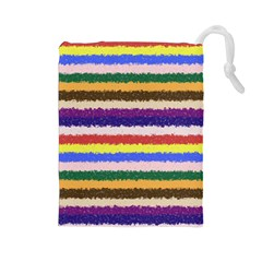 Horizontal Vivid Colors Curly Stripes   1 Drawstring Pouch (large)