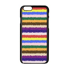 Horizontal Vivid Colors Curly Stripes   1 Apple Iphone 6 Black Enamel Case