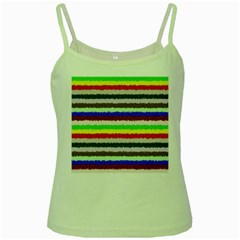 Horizontal Vivid Colors Curly Stripes   2 Green Spaghetti Tank