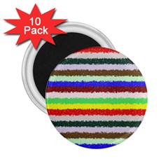 Horizontal Vivid Colors Curly Stripes   2 2 25  Button Magnet (10 Pack)