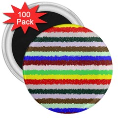Horizontal Vivid Colors Curly Stripes   2 3  Button Magnet (100 Pack)