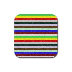 Horizontal Vivid Colors Curly Stripes   2 Drink Coaster (square)