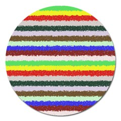 Horizontal Vivid Colors Curly Stripes   2 Magnet 5  (round)