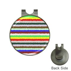Horizontal Vivid Colors Curly Stripes - 2 Hat Clip with Golf Ball Marker