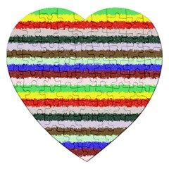 Horizontal Vivid Colors Curly Stripes   2 Jigsaw Puzzle (heart)