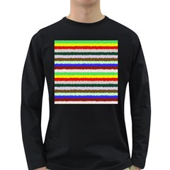 Horizontal Vivid Colors Curly Stripes - 2 Men s Long Sleeve T-shirt (Dark Colored)