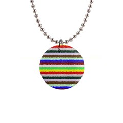 Horizontal Vivid Colors Curly Stripes   2 Button Necklace