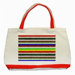 Horizontal Vivid Colors Curly Stripes - 2 Classic Tote Bag (Red)