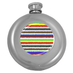 Horizontal Vivid Colors Curly Stripes   2 Hip Flask (round)