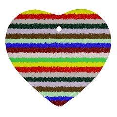 Horizontal Vivid Colors Curly Stripes - 2 Heart Ornament (Two Sides)