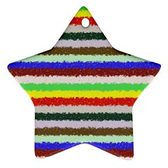Horizontal Vivid Colors Curly Stripes   2 Star Ornament (two Sides)