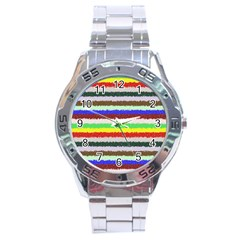 Horizontal Vivid Colors Curly Stripes   2 Stainless Steel Watch