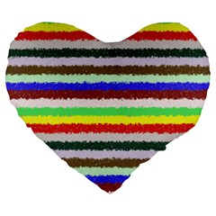 Horizontal Vivid Colors Curly Stripes   2 19  Premium Heart Shape Cushion