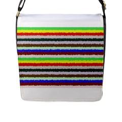Horizontal Vivid Colors Curly Stripes - 2 Flap Closure Messenger Bag (Large)