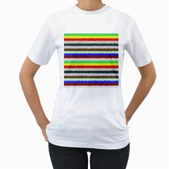 Horizontal Vivid Colors Curly Stripes   2 Women s T Shirt (white)