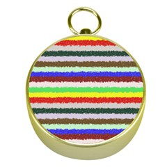Horizontal Vivid Colors Curly Stripes - 2 Gold Compass
