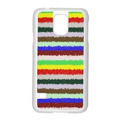 Horizontal Vivid Colors Curly Stripes - 2 Samsung Galaxy S5 Case (White)