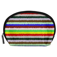 Horizontal Vivid Colors Curly Stripes - 2 Accessory Pouch (Large)