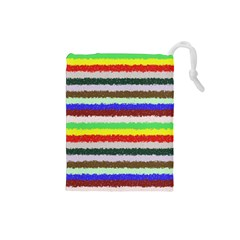 Horizontal Vivid Colors Curly Stripes   2 Drawstring Pouch (small)