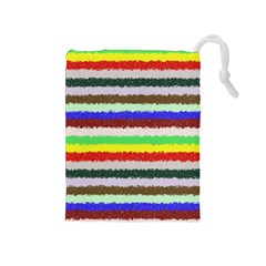 Horizontal Vivid Colors Curly Stripes - 2 Drawstring Pouch (Medium)