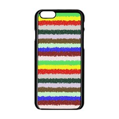 Horizontal Vivid Colors Curly Stripes - 2 Apple iPhone 6 Black Enamel Case