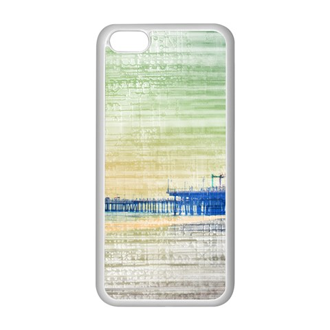 Santa Monica Pier green grey Canvas Apple iPhone 5C Seamless Case (White)