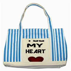 You My Heart Blue Striped Tote Bag
