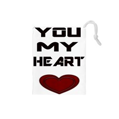 You My Heart Drawstring Pouch (small)