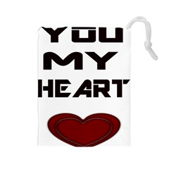 You My Heart Drawstring Pouch (large)