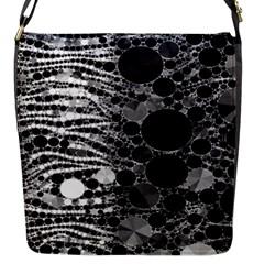 Zebra Print Bling Abstract Flap Closure Messenger Bag (Small)