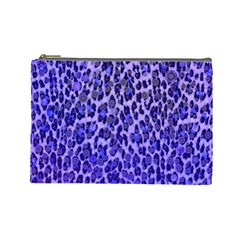 Blue Leopard  Cosmetic Bag (large)