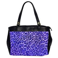 Blue Leopard  Oversize Office Handbag (two Sides)