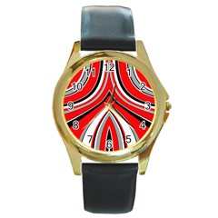 Fantasy Round Leather Watch (gold Rim)