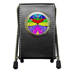 Abstract Stationery Holder Clock