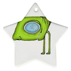Funny Alien Monster Character Star Ornament