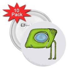 Funny Alien Monster Character 2 25  Button (10 Pack)